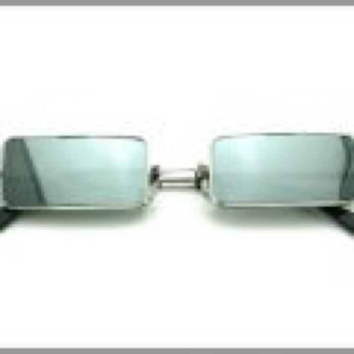 1% Rectangle Eye / SilverxSilver Mirror Polarized Lens